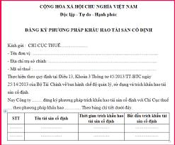 Mẫu văn bản đăng ký phương pháp trích khấu hao tài sản cố định